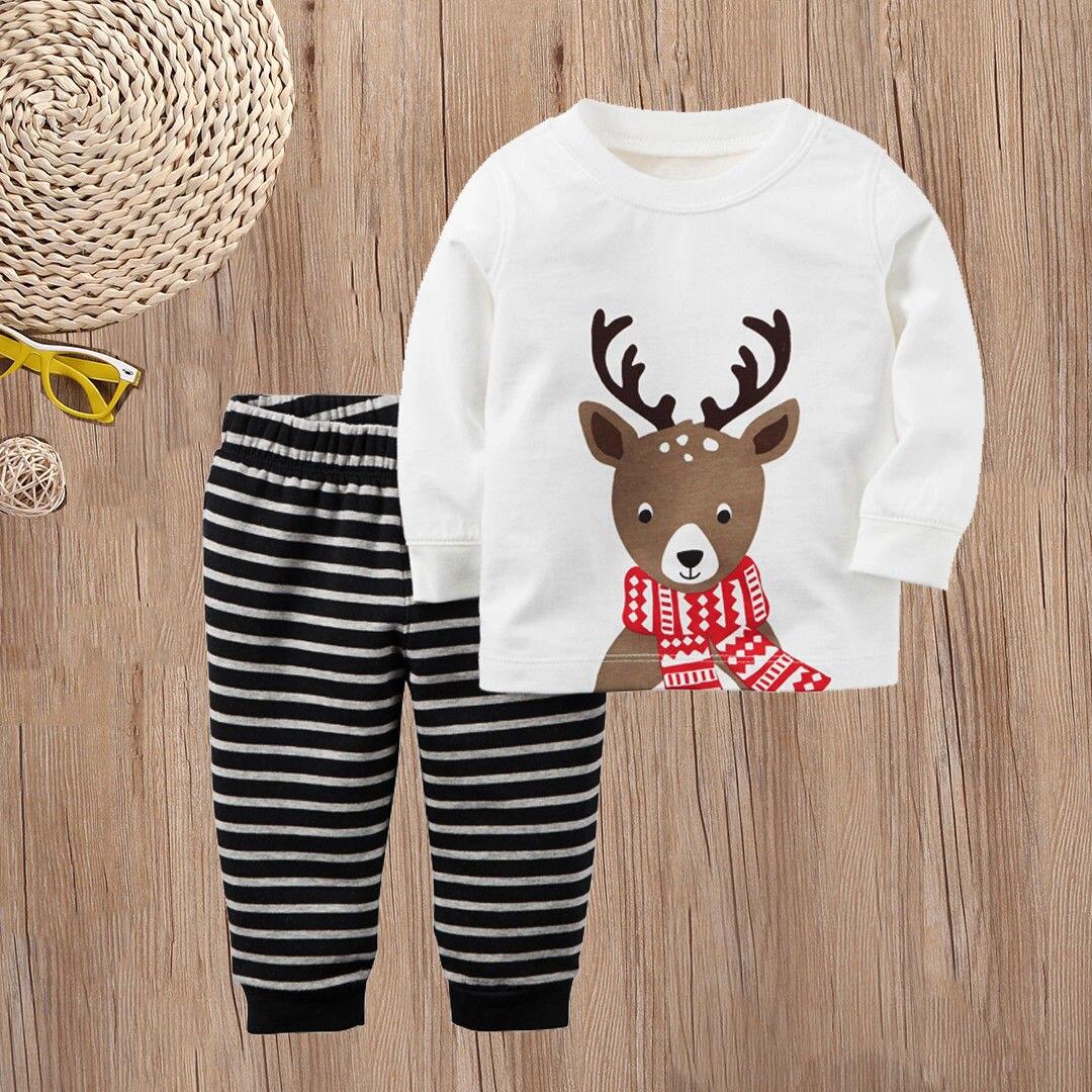 New Christmas Kids Baby Boys Girls Reindeer Nightwear Sleepwear Pajamas set 1 7Y