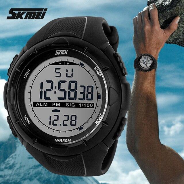 Новинка 2017 года SKMEI Марка Для мужчин светодиодный цифровой Военное Дело часы, 50 м погружения Плавание платье Спортивные часы модные уличные Наручные часы