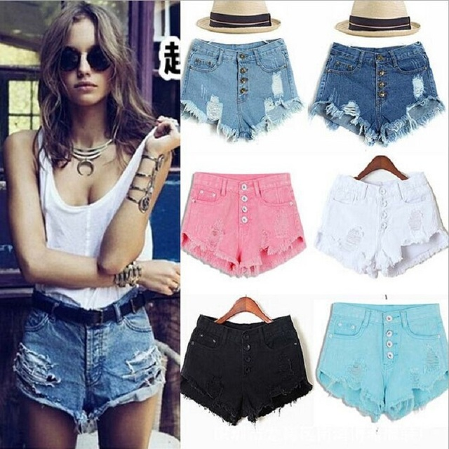 2158270e6b7fb Hot Sale Fashion Women Denim Shorts Sexy Summer Hole Rock Ripped Vintage Shorts  Jeans Plus Size