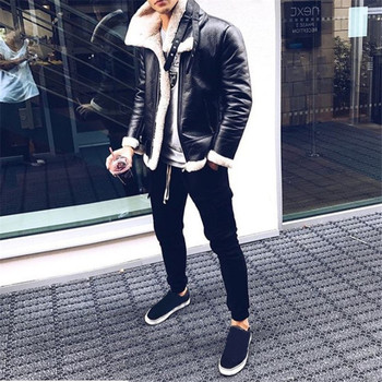 2019 Winter Suede Leather Jacket Stand Collar Casual Slim Fit Men Fashions Fleece Warm Outwear Zipper Faux Leather Coat Ds50828