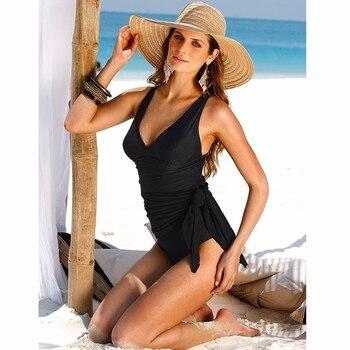 6XL Plus Size Swimwear One Piece Swimsuit Women Summer Beach Wear Vintage Retro High Waist Bathing Suit Plus Dress Black Y007 2