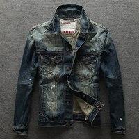 2017 американской моды Для мужчин куртка высокое качество Slim Fit Винтаж грязный процесс джинсовые рваные куртка Для мужчин пальто Молодежная у...