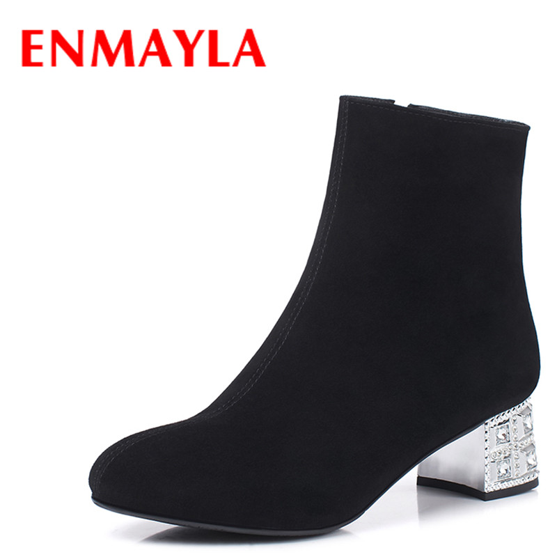 ENMAYLA New Women Slip-on Chelsea Boots Suede Black Crystal Ladies Ankle Boots for Women Round Toe Med Heels Shoes Woman enmayla ankle boots for women low heels autumn and winter boots shoes woman large size 34 43 round toe motorcycle boots