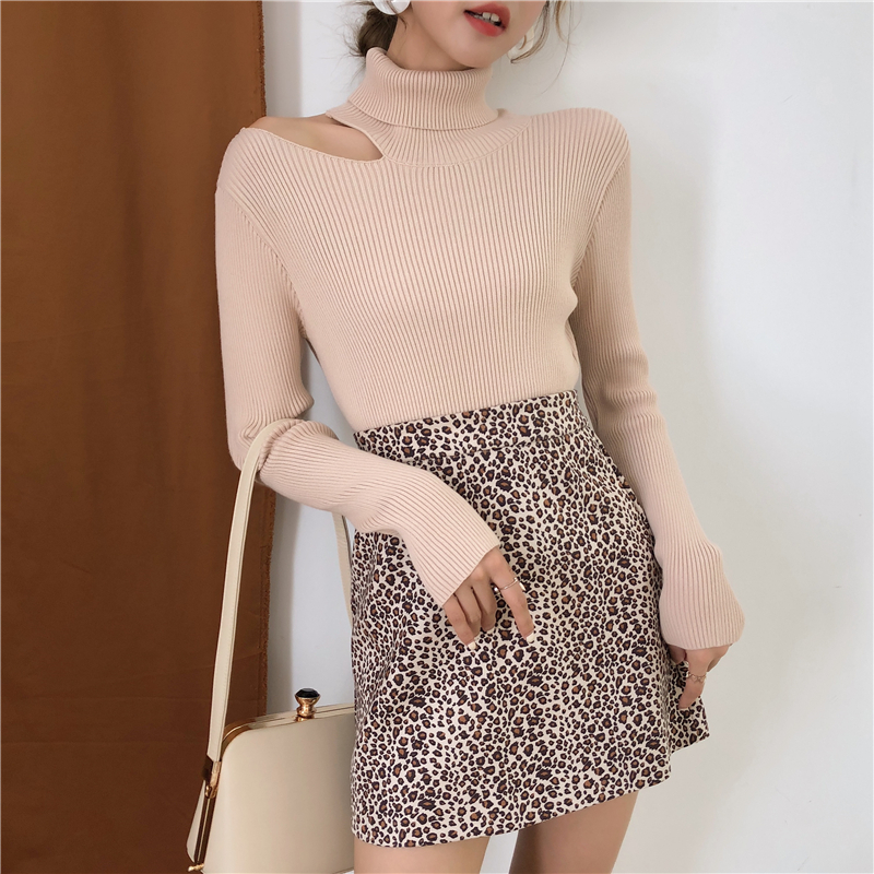Colorfaith Women Pullovers Sweater 19 Knitting Autumn Winter Turtleneck Sexy Hollow Out Off Shoulder Casual Ladies Tops SW755 10