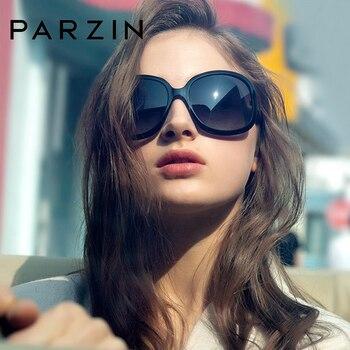 PARZIN Fashion Oversized Black 2019 Sunglasses Women Brand Designer Elegant Big Frame Women's Glasses UV400 Polarized With Case