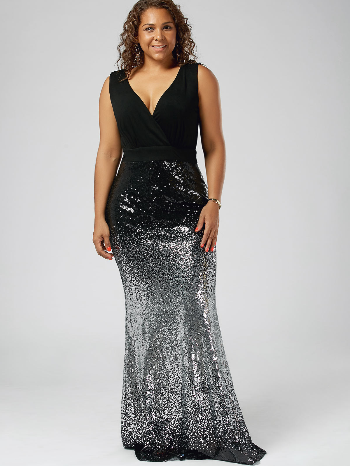 e3fac1b85dd8b Kenancy Plus Size Fashion Sequins Party Dress Sexy V Neck Sleeveless High  Waist Maxi Fishtail Dress Club Vestidos De Festa Robe
