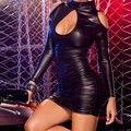 Mujeres negro de cuero sintético de manga larga backless bodycon mini sexy de invierno vendaje dress vestido de festa w14008