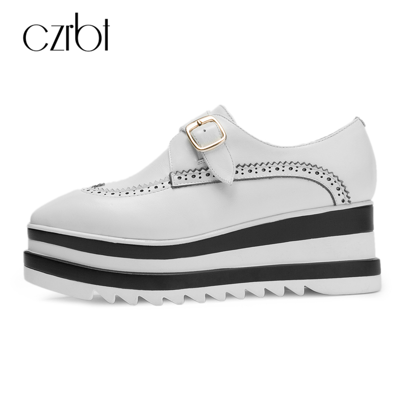 CZRBT Genuine Leather Women Shoes Spring Autumn Cow Leather Height Increasing Platform Shoes Women Metal Buckle Casual Flats free shipping spring autumn women s flatform casual all match board shoes height increasing shoes