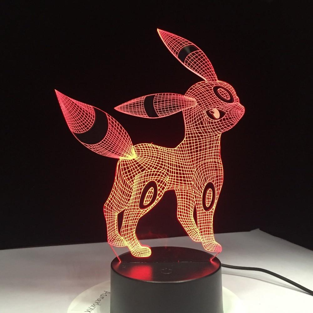 Umbreon Pokemon Go 3D Acrylic Night Light USB Sleep Light 3AA Battery 7 Color Change Table Lamp Bedroom Decor Kids Birthday Gift