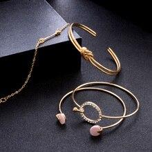 EVERLEAD Bracelet bangles Set Classic Arrow Knot Round Crystal Gem Multilayer Adjustable Open Bracelet for Women
