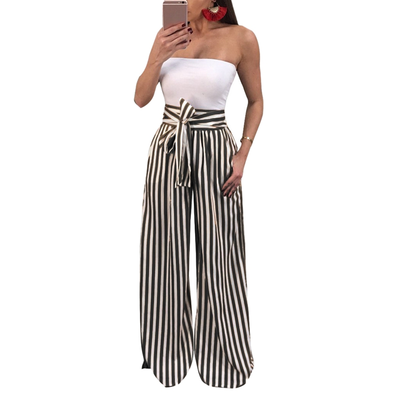 Fashion High Waisted Wide Leg Pants Women Trousers Autumn Elegant Pocket Trousers Casual Striped Bow Tie Drawstring Loose Pala
