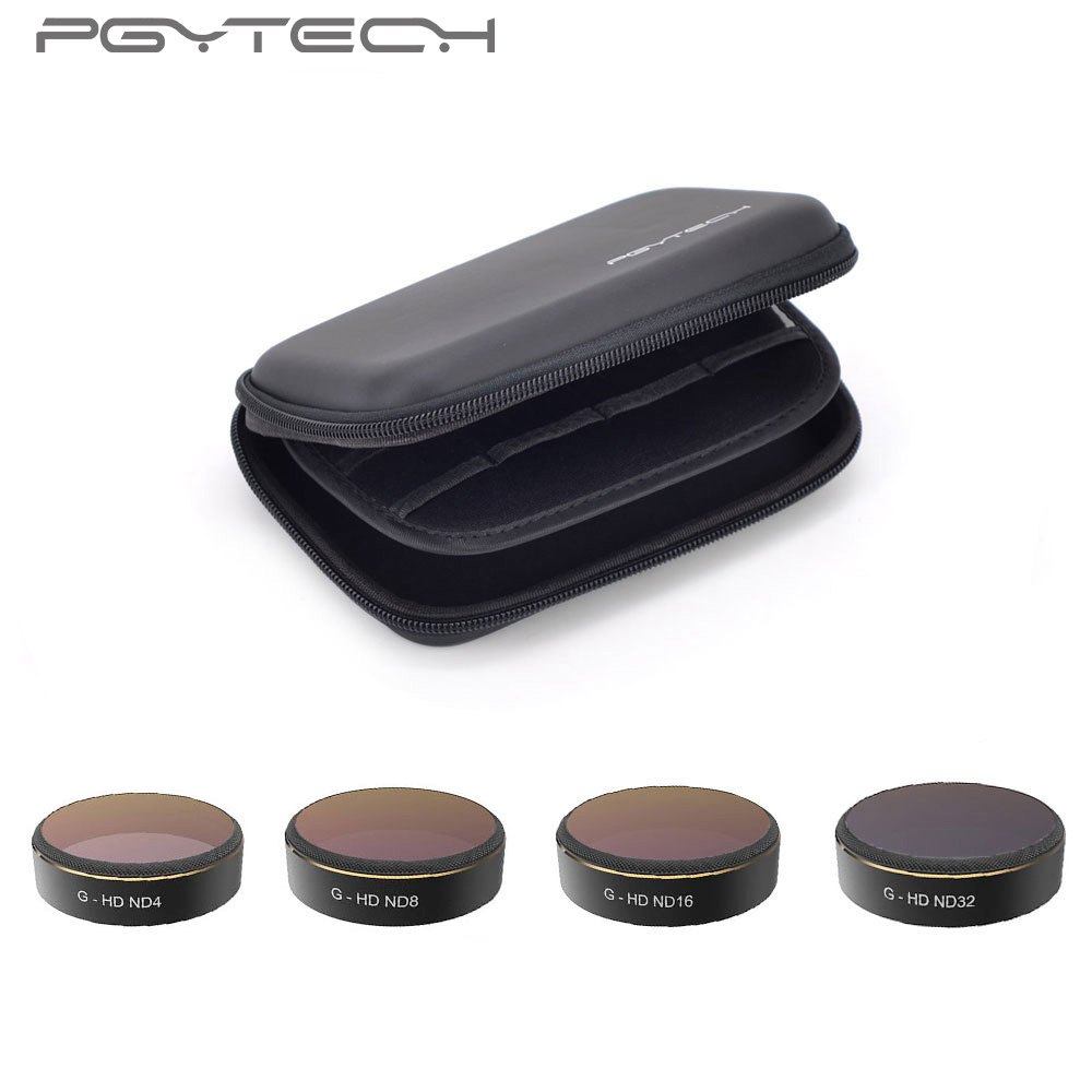 PGYTECH 1Set=4pcs ND4+ND8+ND16+ND32 Lens Filters DJI Phantom 4 PRO Accessories for Phantom 4 PRO Drone Quadcopter 5pcs set pgytech lens filters hd nd4 nd8 nd16 nd32 mrc pl for gopro hero 5 camera