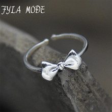 FYLA MODE Authentic 925 Sterling Silver Bow Knot Open Finger Ring for Women Wedding Jewelry 5.7MM *1.1MM FYS015