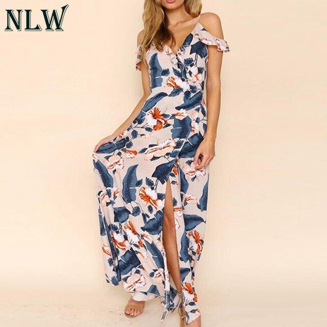 2aab4a9d7e7b5 US $15.99 40% OFF|NLW Boho Floral Print Maxi Dress Cold Shoulder Summer  Chiffon Long Dress Women Girl Beach Elegant Wrap Dress Femme Chic  Vestidos-in ...