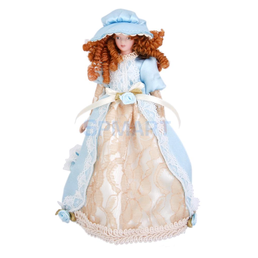 Dollhouse Miniature Porcelain Dolls Victorian Lady in Dress & Hat w/ Stand