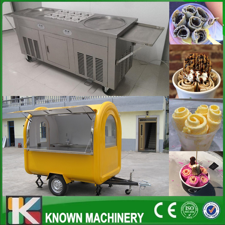 The best selling Food cart with fried ice cream machine free shipping by sea fried ice cream machine yogurt frying machine free ship by sea