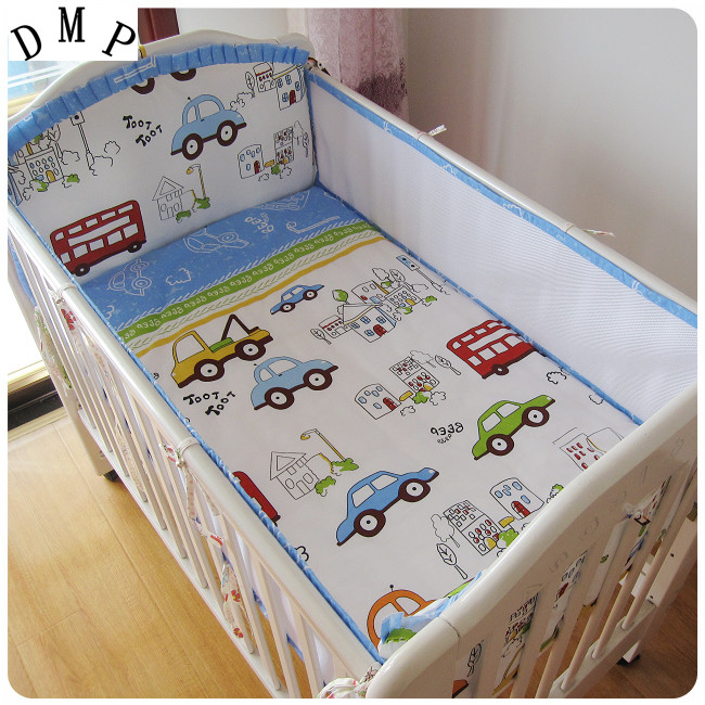 Promotion! 5PCS cot baby bedding set ,cotton crib bedding set,infant nursery set,include:(bumper+sheet)