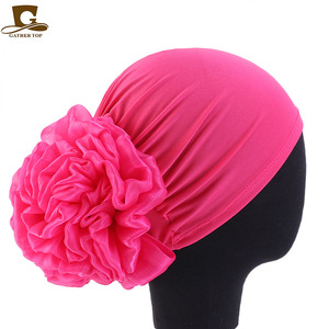 Image 4 - New Big Flower Women Turban Hat Muslim Headscarf Pile Heap Cap Women Soft Comfortable Hijab Caps Islamic Chemotherapy Hat