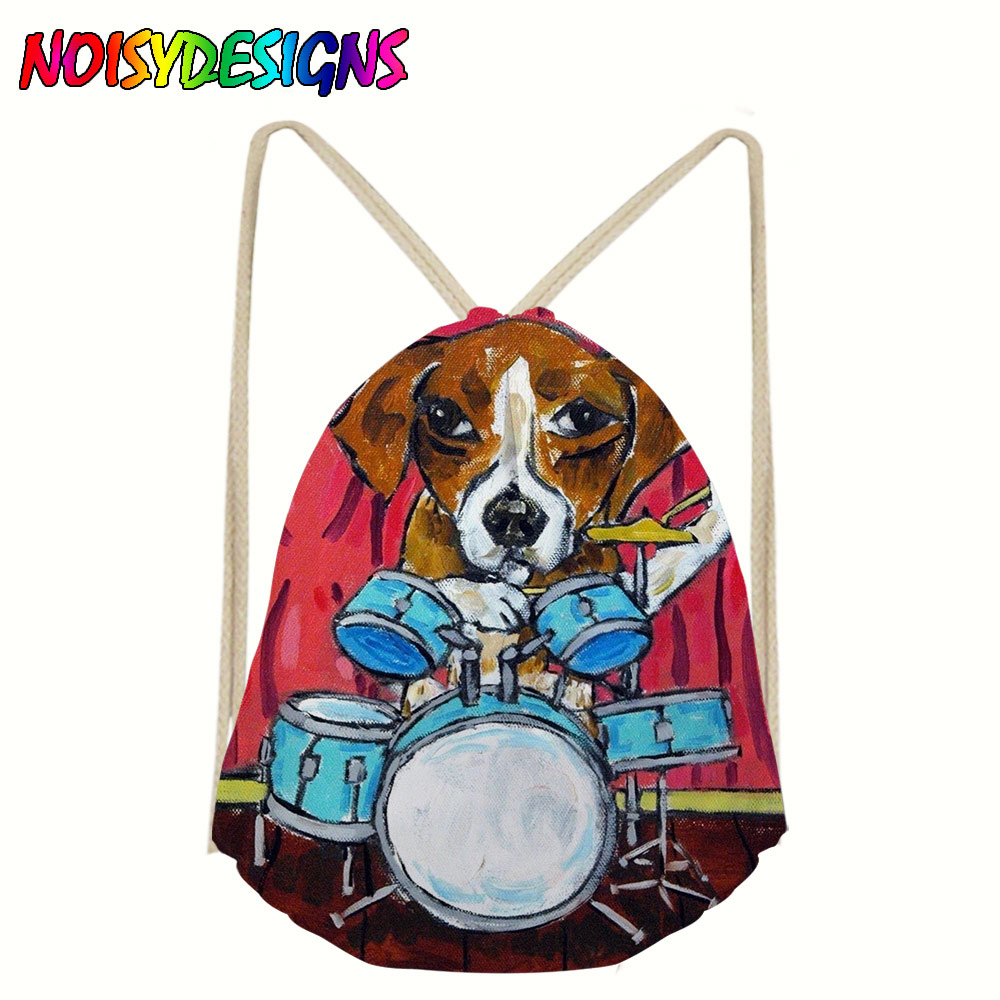 Beagle Dog Drawstring Bags Travel Pouch Storage Clothes Handbag Cotton Women Girls Shoes Bags Makeup Bag