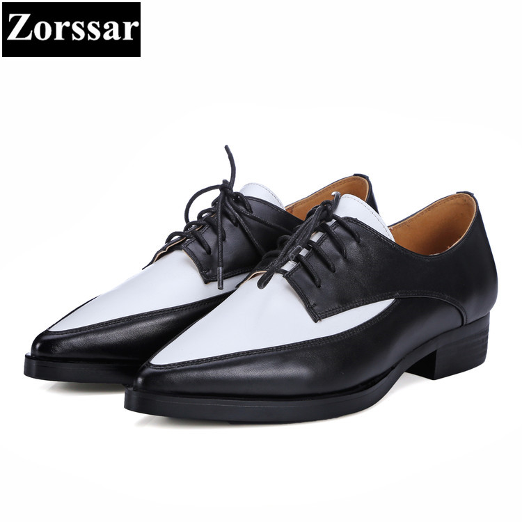 {Zorssar} Women Shoes flat heel Fashion Real leather pointed toe Women flats shoes Casual lace-up Womens dress Oxford shoes 2017 womens spring shoes casual flock pointed toe narrow band string bead ballet flats flat shoes cover heel women flats shoes