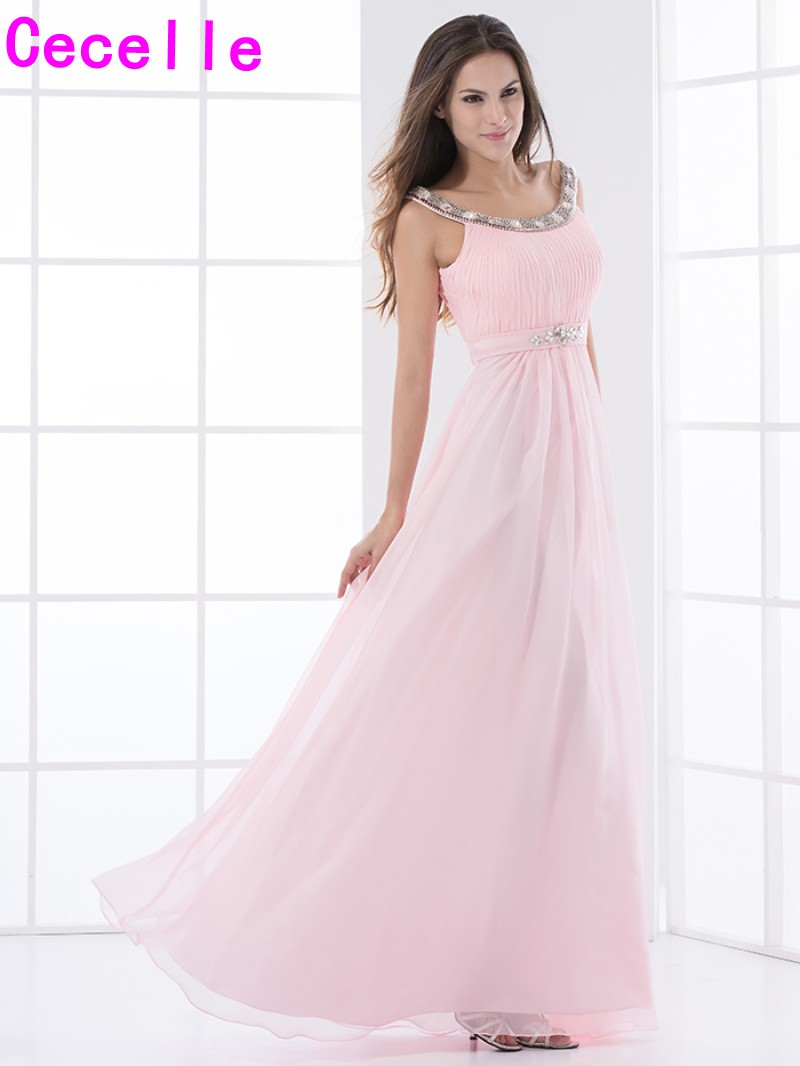 Online shop pink chiffon long bridesmaid dresses with straps online shop pink chiffon long bridesmaid dresses with straps beaded crystals scoop formal wedding party dress maids of honor dress custom aliexpress ombrellifo Images