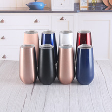 180ml 6oz stemless wine champagne tumbler vacuum insulated glasses juice egg shaped mug