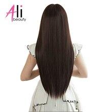 Alibeauty 70 г перуанские прямые волосы 6 шт./компл. клип в наращивание волос человеческие волосы темно-коричневого цвета на Волосы remy 2-комплект из 3 предметов; для головы