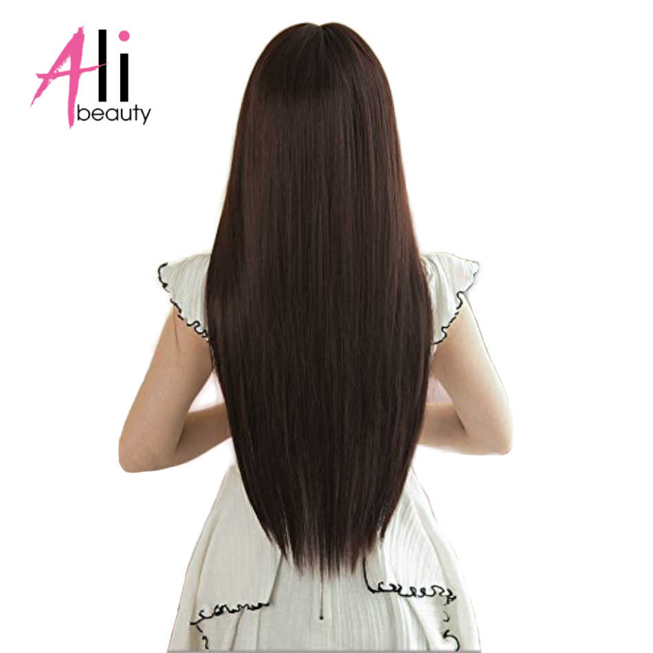 ALIBEAUTY 70G Peruvian Straight Hair 6Pcs/Set Clip In Hair Extensions 100% Human Hair Dark Brown Remy Hair 2-3Set For A Head