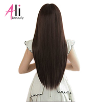 ALIBEAUTY 70G Peruvian Straight Hair 6Pcs/Set Clip In Hair Extensions 100% Human Hair Dark Brown Remy Hair 2 3Set For A Head