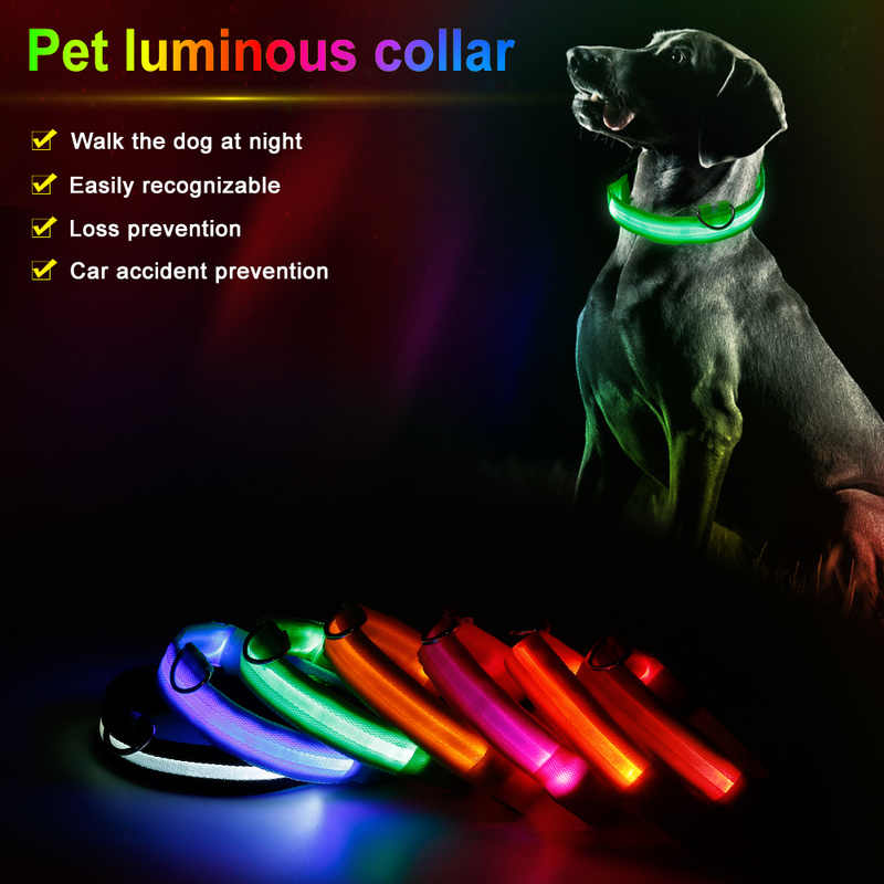 Nylon LED Pet Dog Cat Collar Night Safety Flashing Glow In The Dark Dog Leash Dogs Luminous Fluorescent Collars Pet Supplies