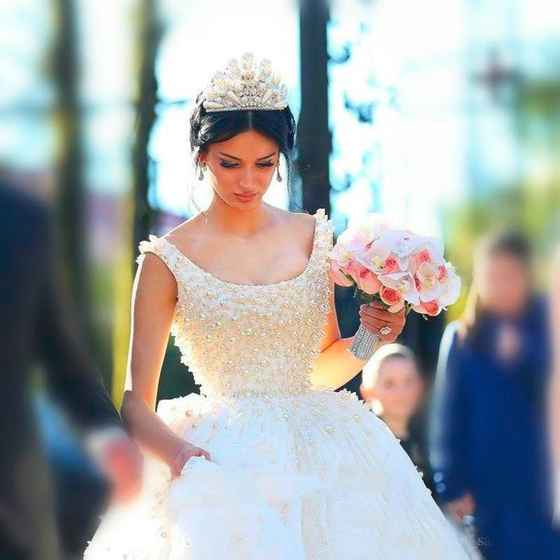 Saudi Arabia Ball Gown Wedding Dresses Square Collar Tulle with Pearls Princess Puffy Bridal Gowns Vestido