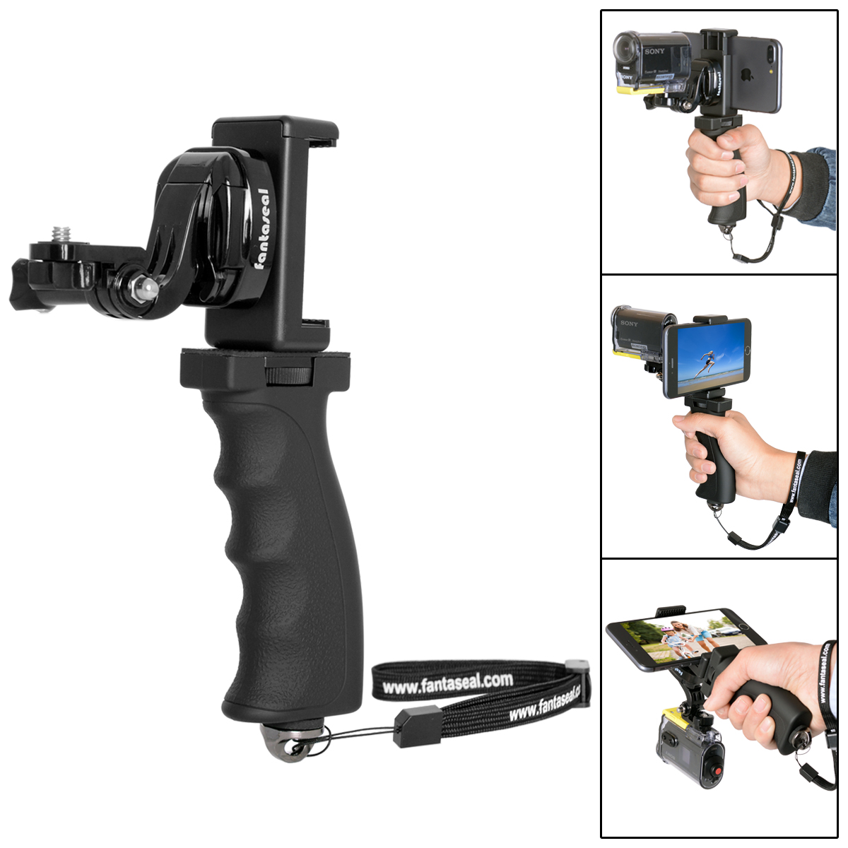Image 2 - Fantaseal Action Camera Hand Grip Mount + Mobile Phone Clip for Sony AS200V AS300R FD X3000R SJCAM Gear 360 Stabilizer Holder-in Sports Camcorder Cases from Consumer Electronics