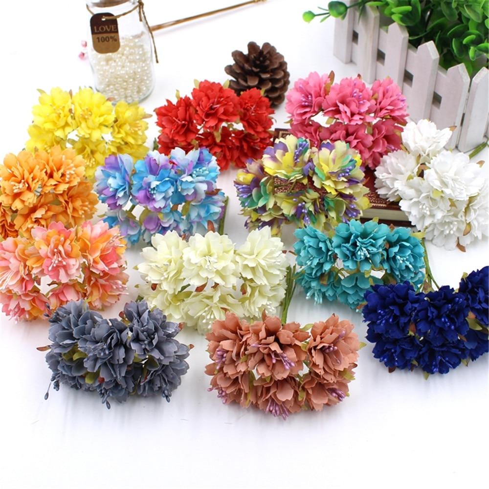 High Quality 6 Pcs Batch 12 Color Silk Flowers Artificial Cherry