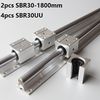 2pcs SBR30 30mm 1800mm Support Linear Guide Rail With 4pcs SBR30UU Linear Bearing blocks CNC Router
