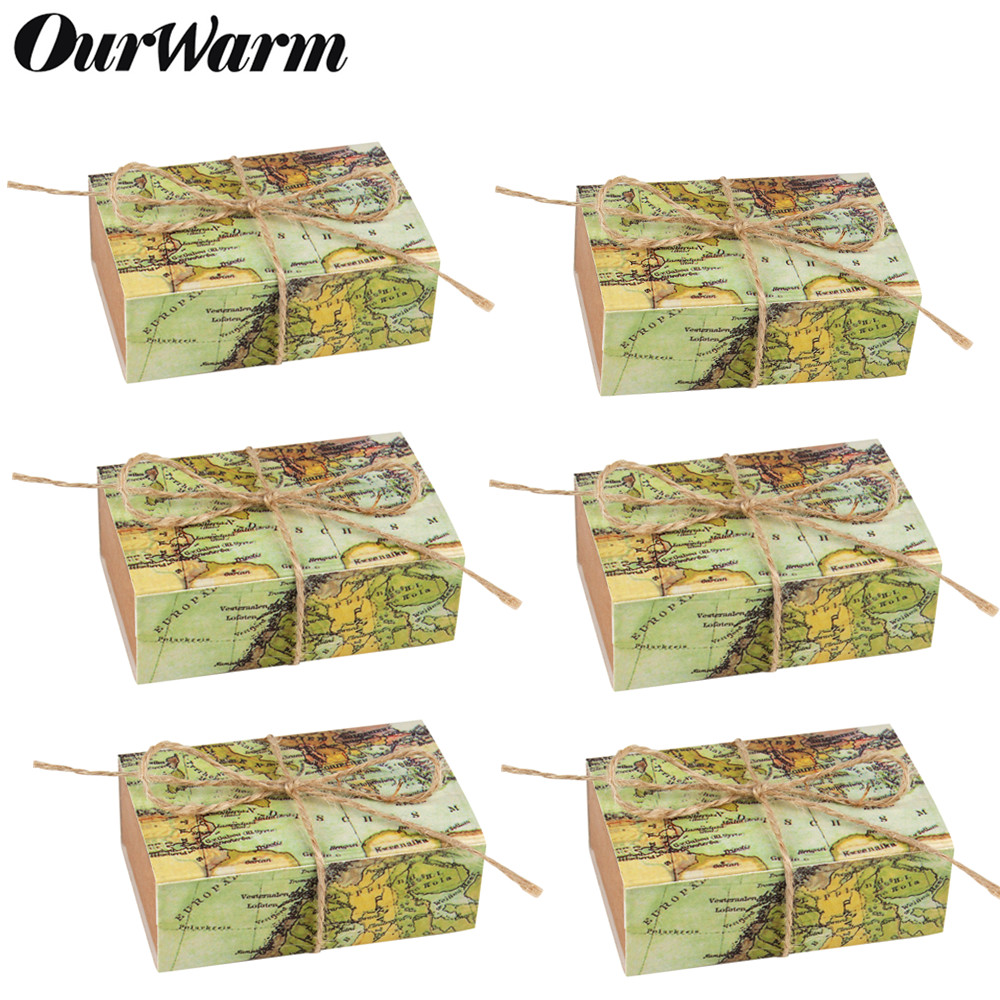 100pcs Wedding Favors Kraft Paper Candy Gift Box Souvenirs For Guests World Map Travel Bulap Gift Bag Wedding Party Decoration