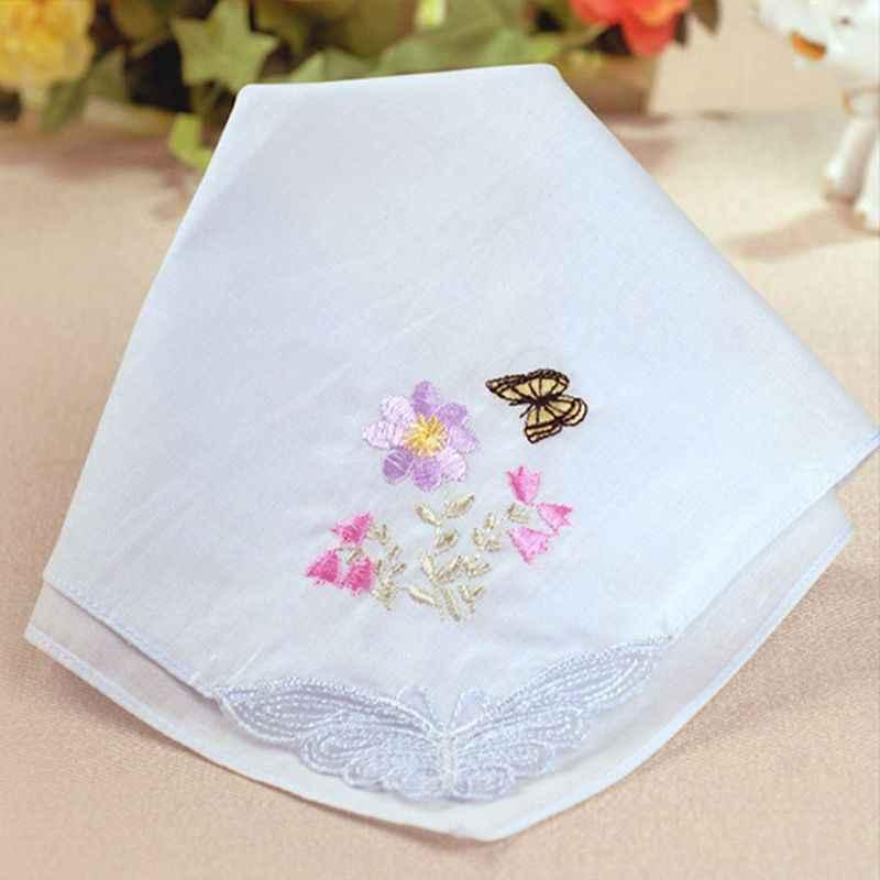 3 unids/set 29x29cm mujeres cuadrado pañuelo Floral bordado Color caramelo pañuelo de bolsillo de encaje Patchwork algodón bebé Baberos portátil