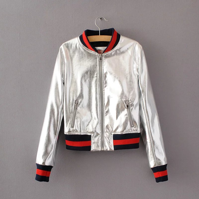 Fashion autumn winter PU bright leather female metallic silver short coat slim women s coats clothing outwear Baseball jacket