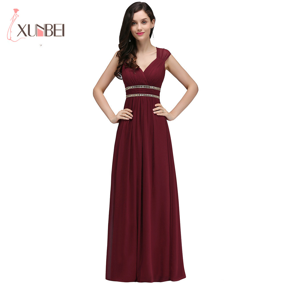 Scoop Neckline Chiffon Long Evening Dresses Robe De Soiree Beaded Crystal Ruched Formal Women Evening Dresses