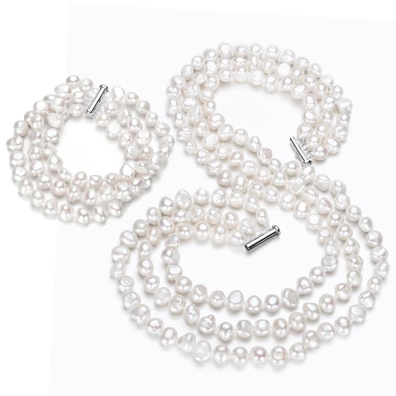 SNH 7mm baroque AA 925 argent classique blanc 3 brins Baroque collier de perles d'eau douce et Bracelet ensemble