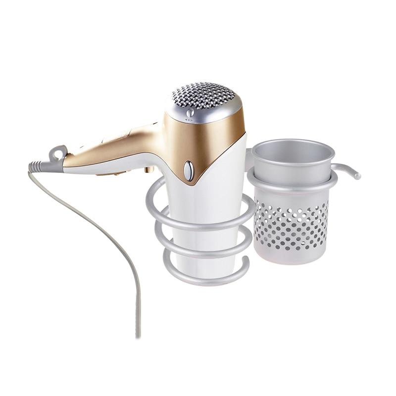 Алуминиева стена за баня Стенен шкаф за коса Стойка за съхраняване сешоар Стойка за поддръжка Сребърна спирала с чаша за съхранение