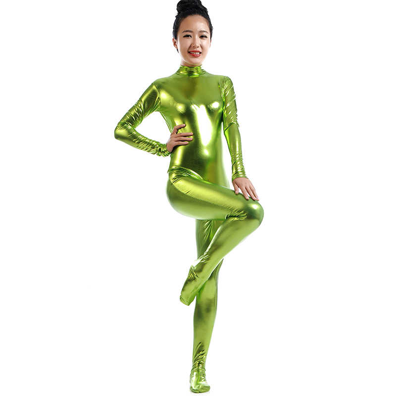 58ffaa130e Detail Feedback Questions about women dance bodysuit shinny Spandex  unitards Full Body Skin Tight metallic Jumpsuit rave clothing singer stage  costume on ...