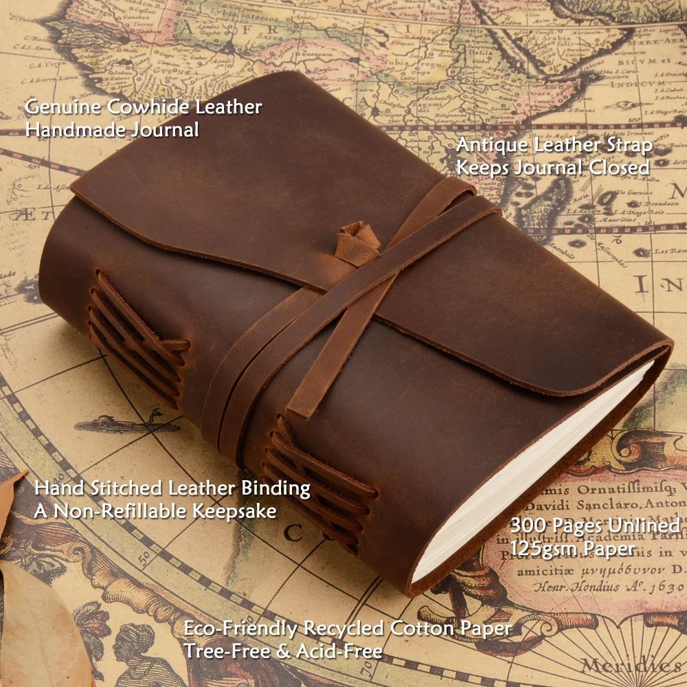 Handgjord äkta läder anteckningsbokstidskrift 5x7 tums - Block och anteckningsböcker - Foto 6