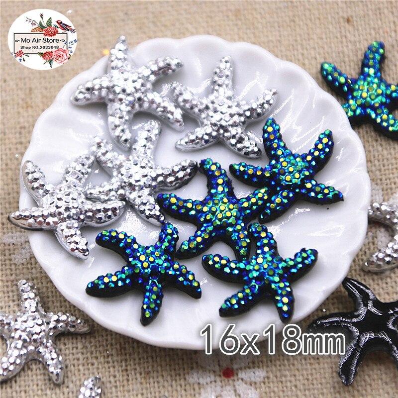 50pcs 16x18mm Silver/black Sea Star Resin Flatback Cabochon DIY Jewelry/phone Charm Decoration No Hole
