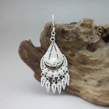 Drop 999 Sterling Silver Bohemian Earrings For Women Accessories Tassel Earrings Luxury Brand Boho Jewelry Vintage Handmade цена