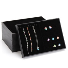 Hot Black jewelry box ring storage box stud earring box wheel stud earring jewelry holder no cover accessories display rack