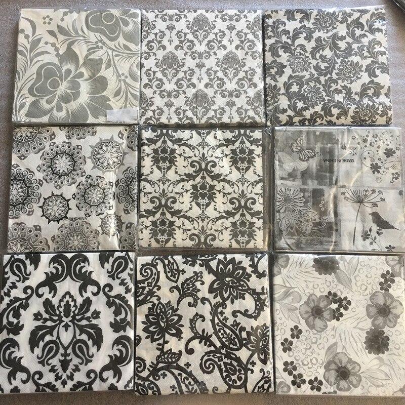 20 Vintage Napkin Paper Tissue Decoupage Black White Gray Flower Birthday Wedding Party Handkerchief Home Decor  Servilletas