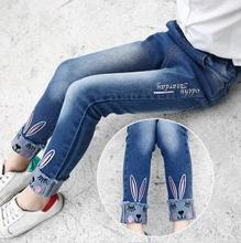 Hot Quality Kids Baby Girl Jeans Spring Autumn Children's Clothing Kids rabbit Embroidered pants Blue girl Cuffed jeans Clothes цены