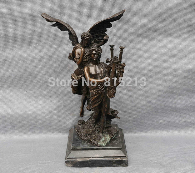 bi001003 13 Pure Bronze Greece Two Men Occident Angel Hand Hold Musical Statue Figurine
