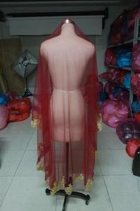 Image 2 - SHAMAIทองขอบลูกไม้Burgundy Red Wedding Veilsยาว 150 ซม.ความยาวชั้นเจ้าสาวงานแต่งงานWihtoutหวี