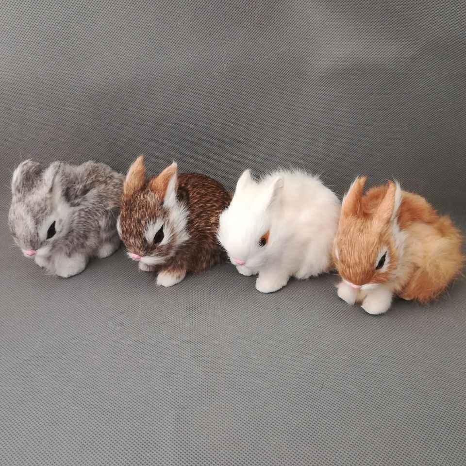 Около 13x7x10 см, модель кролика из полиэтилена и меха, кролики, один лот/4 шт., настоящая жизнь, игрушка, модель, подарок d0499